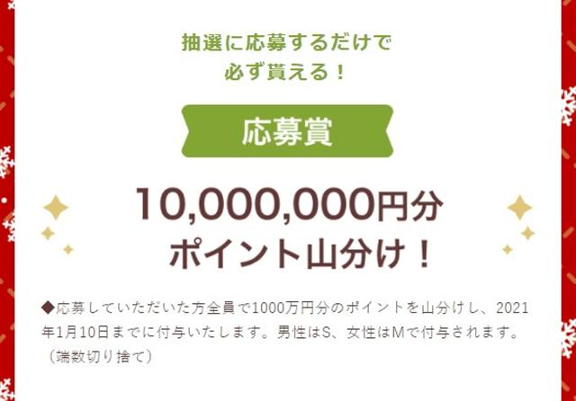 ワクワクメールクリスマスキャンペーン2020山分け1000万