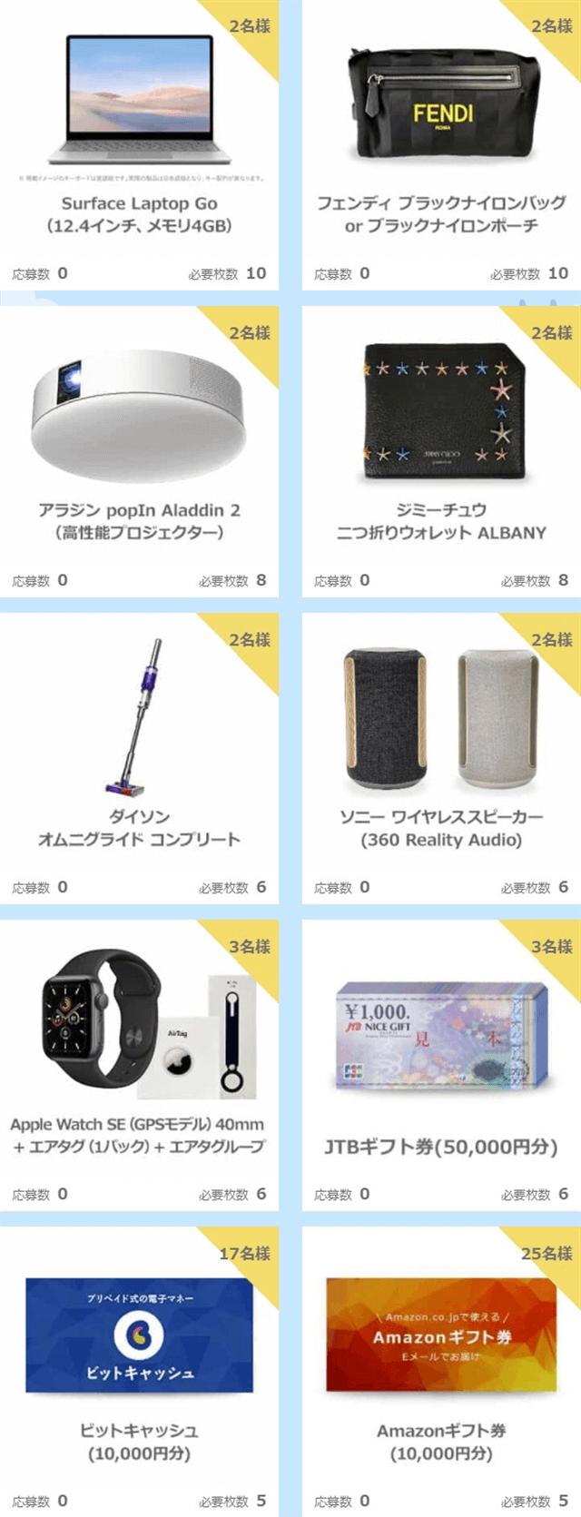 ハッピーメールサマーキャンペーン2021ウィクリー抽選第1週賞品